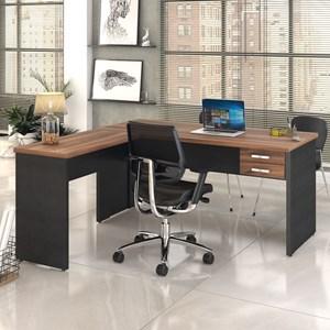 Mesa de Escritório em L 160x160 2 Gavetas Work C08 Nogal/Preto Ônix - Mpozenato