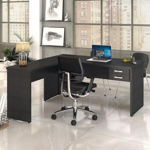 Mesa de Escritório em L 160x160 2 Gavetas Work C08 Preto Ônix- Mpozenato