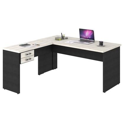 Mesa de Escritório em L 160x160 2 Gavetas Work C08 Snow/Preto Ônix- Mpozenato