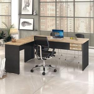 Mesa de Escritório em L 180x160 2 Gavetas Work C08 Carvalho/Preto Ônix - Mpozenato