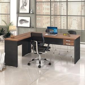 Mesa de Escritório em L 180x160 2 Gavetas Work C08 Nogal/Preto Ônix - Mpozenato