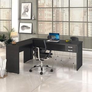 Mesa de Escritório em L 180x160 2 Gavetas Work C08 Preto Ônix- Mpozenato