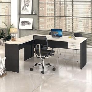 Mesa de Escritório em L 180x160 2 Gavetas Work C08 Snow/Preto Ônix- Mpozenato
