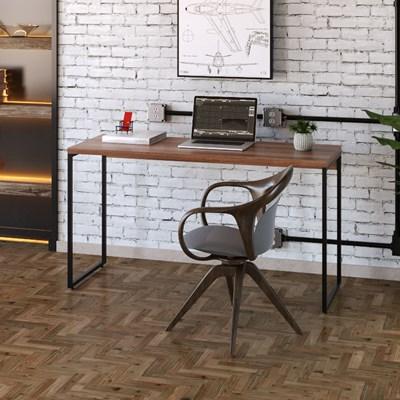Mesa de Escritório Escrivaninha 135cm Dynamica Industrial C08 Nogal - Mpozenato