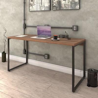 Mesa de Escritório Office 150cm Estilo Industrial Prisma C08 Nogal - Mpozenato