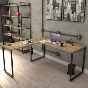 Mesa de Escritório Office em L 150x150cm Estilo Industrial Prisma Carvalho - Mpozenato