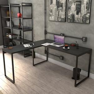 Mesa de Escritório Office em L 150x150cm Estilo Industrial Prisma Preto Onix - Mpozenato