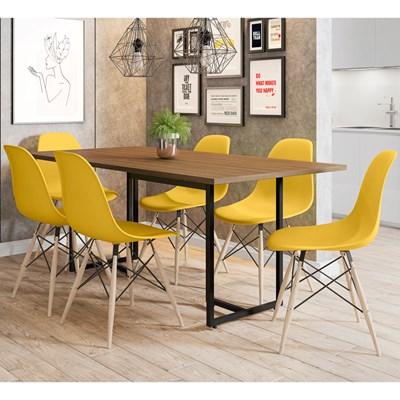 Mesa De Jantar Retangular 6 Cadeiras Eames Indy F02 Castanho/Preto/Amarelo - Mpozenato