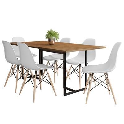 Mesa De Jantar Retangular 6 Cadeiras Eames Indy F02 Castanho/Preto/Branco - Mpozenato