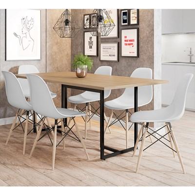 Mesa De Jantar Retangular 6 Cadeiras Eames Indy F02 Nature/Preto/Branco - Mpozenato