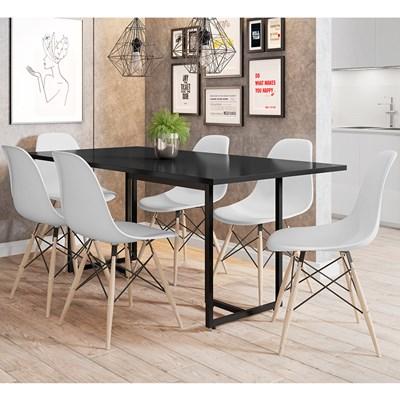 Mesa De Jantar Retangular 6 Cadeiras Eames Indy F02 Preto/Branco - Mpozenato