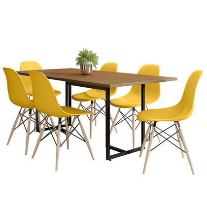 Mesa De Jantar Retangular Industrial 6 Cadeiras Eames Indy F02 Castanho/Preto/Amarelo - Mpozenato