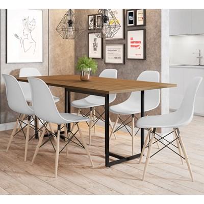Mesa De Jantar Retangular Industrial 6 Cadeiras Eames Indy F02 Castanho/Preto/Branco - Mpozenato