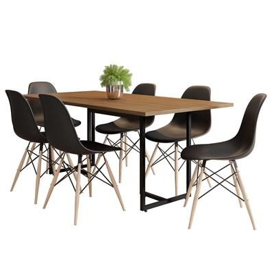 Mesa De Jantar Retangular Industrial 6 Cadeiras Eames Indy F02 Castanho/Preto - Mpozenato