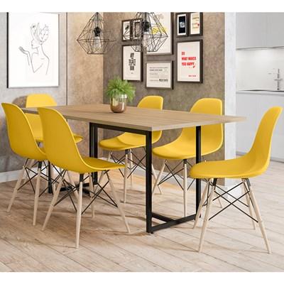 Mesa De Jantar Retangular Industrial 6 Cadeiras Eames Indy F02 Nature/Preto/Amarelo - Mpozenato