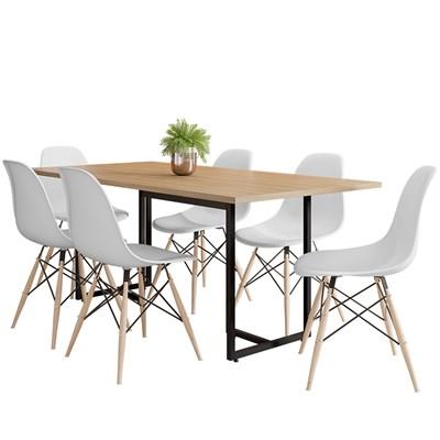 Mesa De Jantar Retangular Industrial 6 Cadeiras Eames Indy F02 Nature/Preto/Branco - Mpozenato