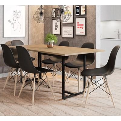Mesa De Jantar Retangular Industrial 6 Cadeiras Eames Indy F02 Nature/Preto - Mpozenato