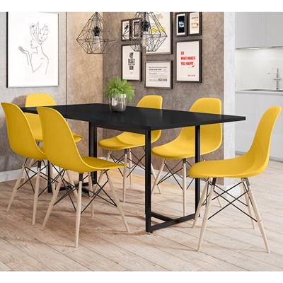 Mesa De Jantar Retangular Industrial 6 Cadeiras Eames Indy F02 Preto/Amarelo - Mpozenato