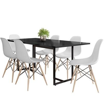 Mesa De Jantar Retangular Industrial 6 Cadeiras Eames Indy F02 Preto/Branco - Mpozenato