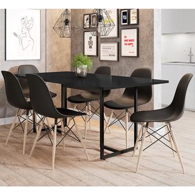 Mesa De Jantar Retangular Industrial 6 Cadeiras Eames Indy F02 Preto - Mpozenato