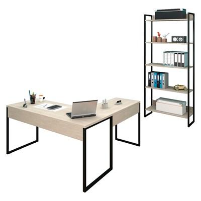 Mesa em L e Estante para Escritório Studio Industrial M18 Carvalho Bruma – Mpozenato