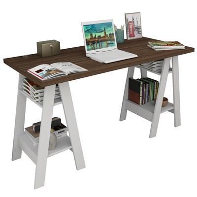 Mesa Escrivaninha Cavalete Self ESC 3003 Imbuia/Branco - Appunto