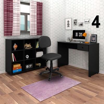 Mesa Escrivaninha Dubai e Nicho Multiuso Amã e Cadeira Giratória CS02 Preto - Mpozenato