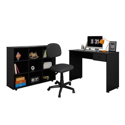 Mesa Escrivaninha Dubai e Nicho Multiuso Amã LP1 e Cadeira Giratória CS02 Preto - Mpozenato