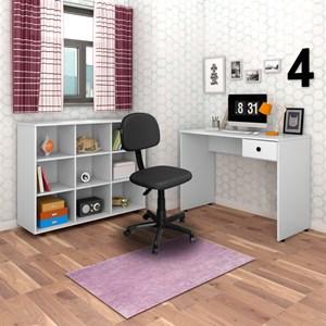 Mesa Escrivaninha Dubai Nicho Multiuso Amã Branco e Cadeira Giratória CS02 Preta - Mpozenato