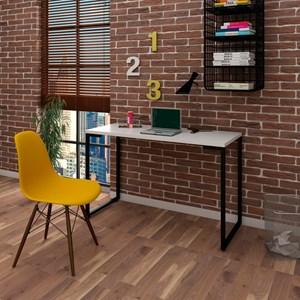 Mesa Escrivaninha Fit 120cm Branco e Cadeira Charles Amarela - Mpozenato