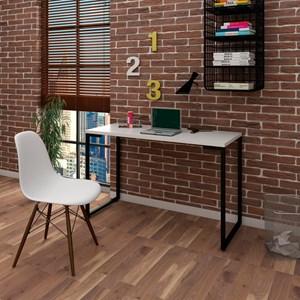 Mesa Escrivaninha Fit 120cm Branco e Cadeira Charles Branca - Mpozenato