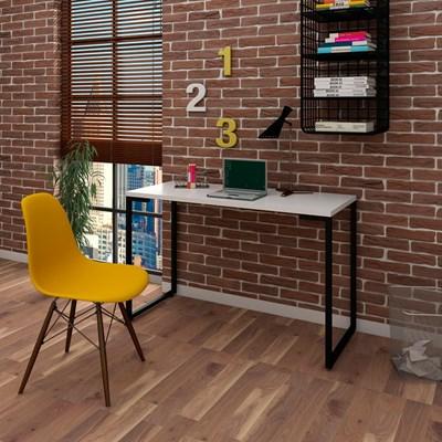 Mesa Escrivaninha Fit 120cm Branco e Cadeira Charles FT1 Amarela - Mpozenato