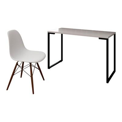Mesa Escrivaninha Fit 120cm Branco e Cadeira Charles FT1 Branca - Mpozenato