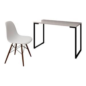 Mesa Escrivaninha Fit 120cm Branco e Cadeira Charles Laranja - Mpozenato