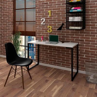 Mesa Escrivaninha Fit 120cm Branco e Cadeira Charles Preta - Mpozenato