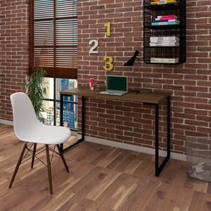 Mesa Escrivaninha Fit 120cm Castanho e Cadeira Charles Branca - Mpozenato