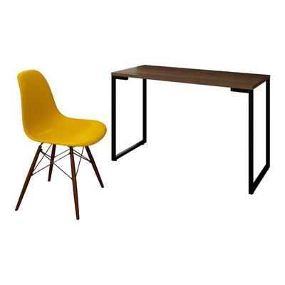 Mesa Escrivaninha Fit 120cm Castanho e Cadeira Charles FT1 Amarela - Mpozenato