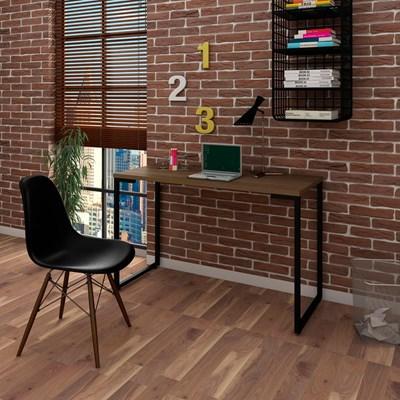 Mesa Escrivaninha Fit 120cm Castanho e Cadeira Charles FT1 Preta - Mpozenato
