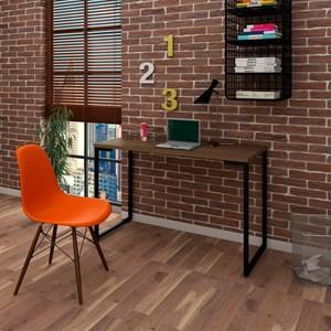 Mesa Escrivaninha Fit 120cm Castanho e Cadeira Charles Laranja - Mpozenato