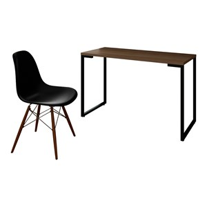 Mesa Escrivaninha Fit 120cm Castanho e Cadeira Charles Preta - Mpozenato