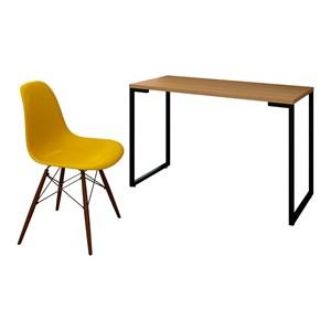 Mesa Escrivaninha Fit 120cm Natura e Cadeira Charles Amarela - Mpozenato