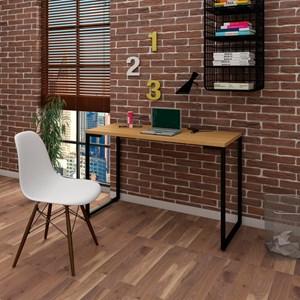 Mesa Escrivaninha Fit 120cm Natura e Cadeira Charles Branca - Mpozenato