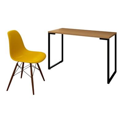 Mesa Escrivaninha Fit 120cm Natura e Cadeira Charles FT1 Amarela - Mpozenato