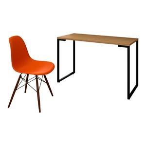 Mesa Escrivaninha Fit 120cm Natura e Cadeira Charles Laranja - Mpozenato