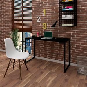 Mesa Escrivaninha Fit 120cm Preto e Cadeira Charles Branca - Mpozenato