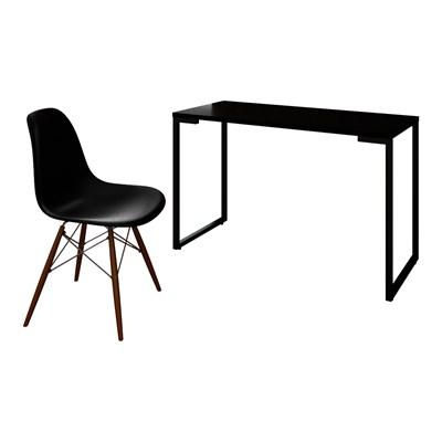 Mesa Escrivaninha Fit 120cm Preto e Cadeira Charles FT1 Preta - Mpozenato