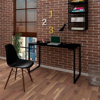 Mesa Escrivaninha Fit 120cm Preto e Cadeira Charles Preta - Mpozenato