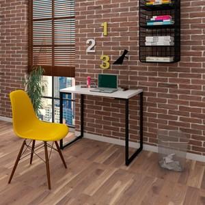 Mesa Escrivaninha Fit 90cm Branco e Cadeira Charles Amarela - Mpozenato