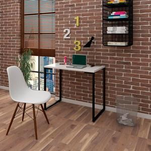Mesa Escrivaninha Fit 90cm Branco e Cadeira Charles Branca - Mpozenato