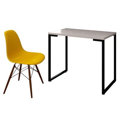Mesa Escrivaninha Fit 90cm Branco e Cadeira Charles FT1 Amarela - Mpozenato